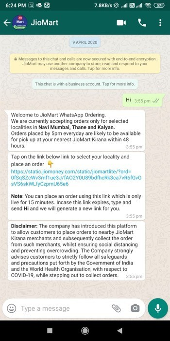 Order Products from JioMart using WhatsApp 1