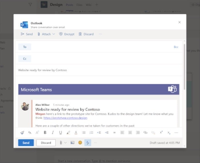 Share Chat over Outlook