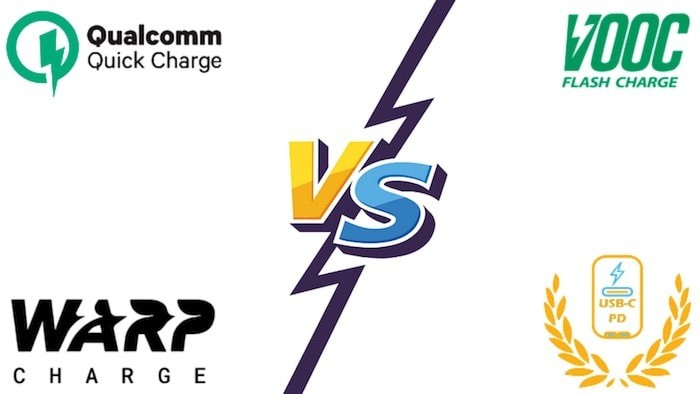 Qualcomm Quick Charge vs OnePlus Warp Charge vs Oppo VOOC vs USB-PD