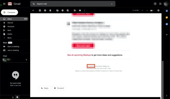 Unsubscribe from unwanted emails using Gmail's utility