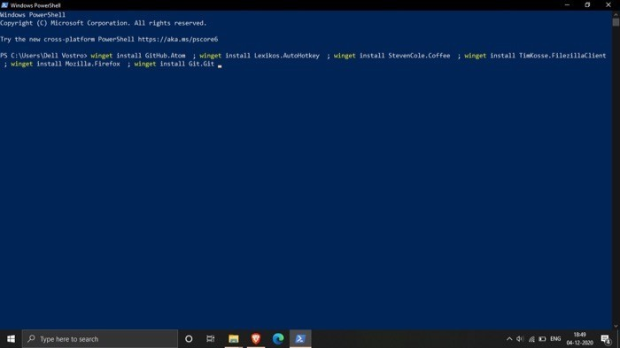 Winget Winstall (pasting script code on Command Prompt or PowerShell)