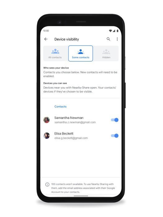 Google Nearby Share visibility settings