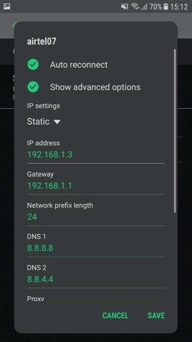 Change DNS server Android