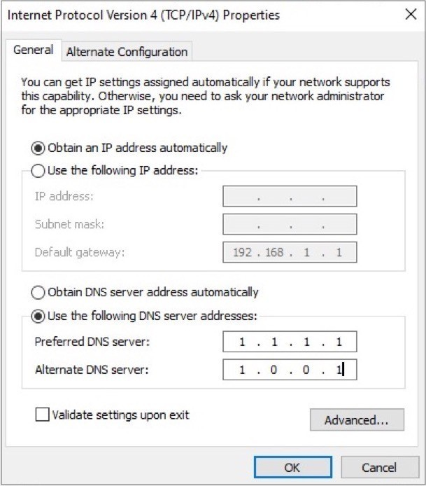 Change DNS server Windows