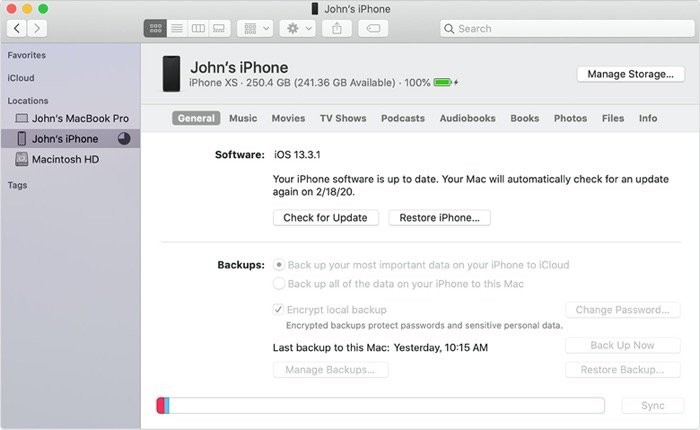 iPhone backup on Mac