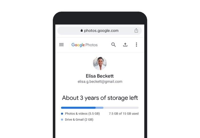 Google Photos personalized storage estimate
