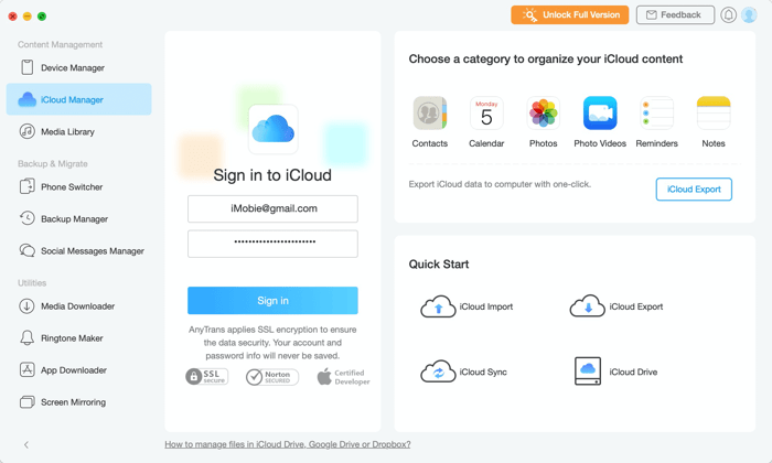 AnyTrans (iCloud Manager)