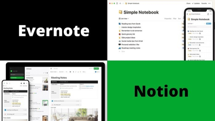Overview (Evernote vs Notion)