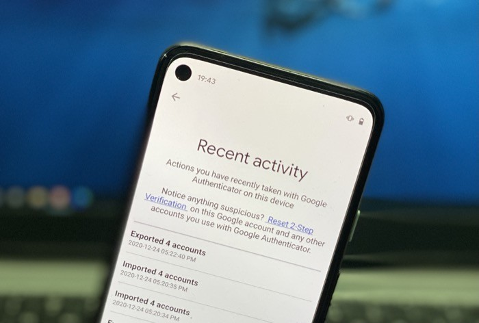 Google Authenticator (recent activity) on Android