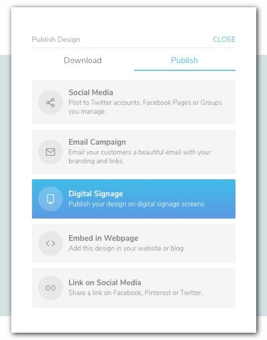 PosterMyWall share and publish options