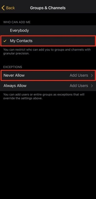Prevent people from adding into random groups