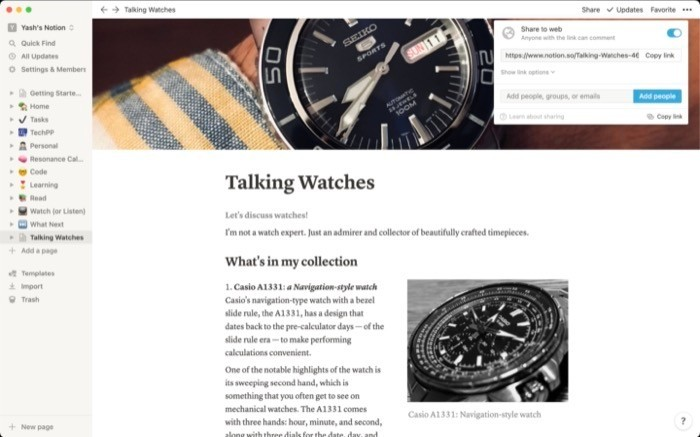 Sharing Notion page on web