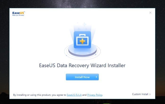 Installing EaseUS Data Recovery Wizard