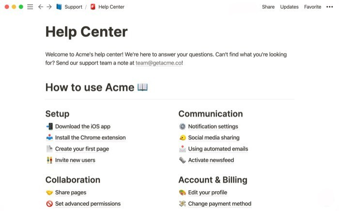 Notion web page for help center