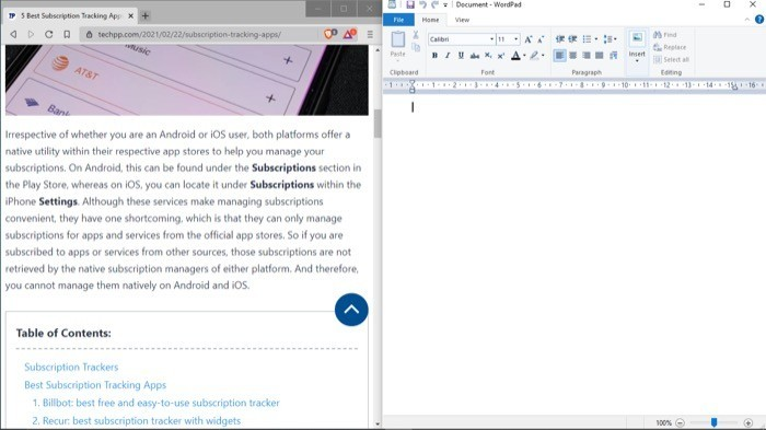 Split screen on Windows 10 with two apps side-by-side