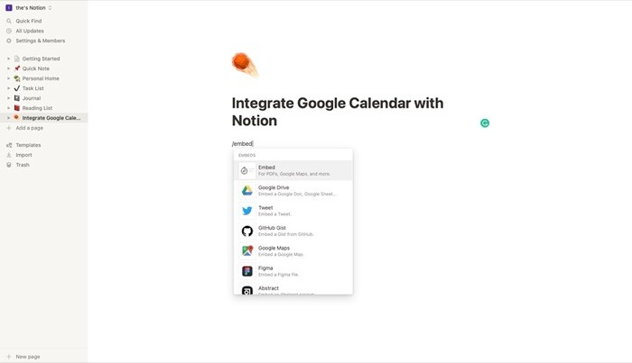 Integrate Google Calendar with Notion