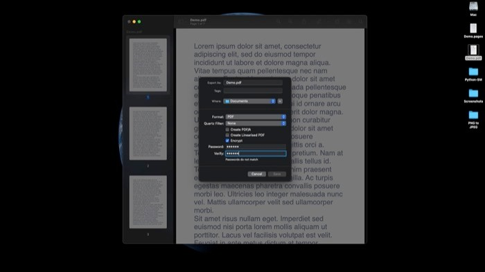 Password protect PDFs using Preview