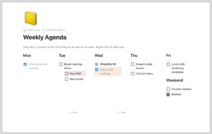Weekly Agenda Notion Template