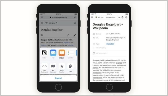 Notion Web Clipper on mobile
