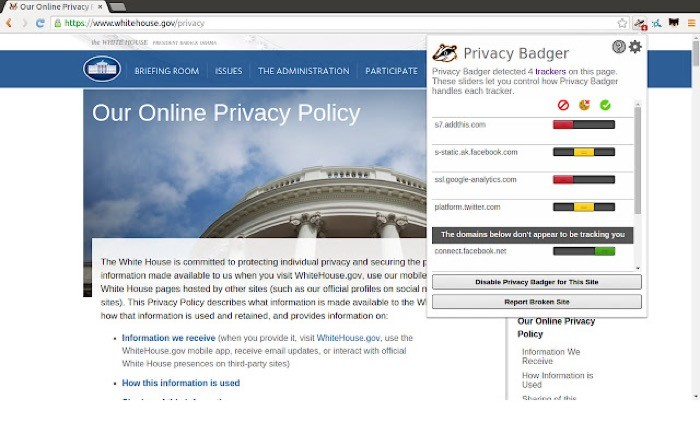 Privacy Badger extension