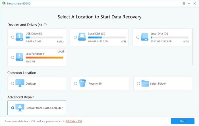 recovering lost data using Tenorshare 4DDiG