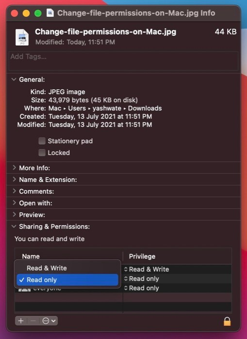 change file permissions on Mac using Finder