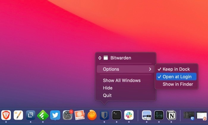 manage Mac startup programs from Dock
